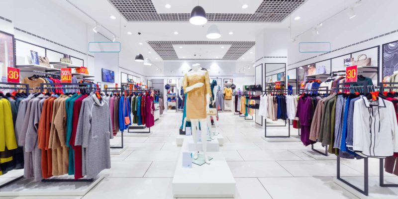Interior of fashion clothing store for women.