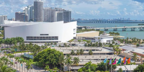 MIAMI, USA - SEPTEMBER 10, 2014 : Aerial image of the American Airlines Arena at Downtown Miami on September 10, 2014 in Miami.