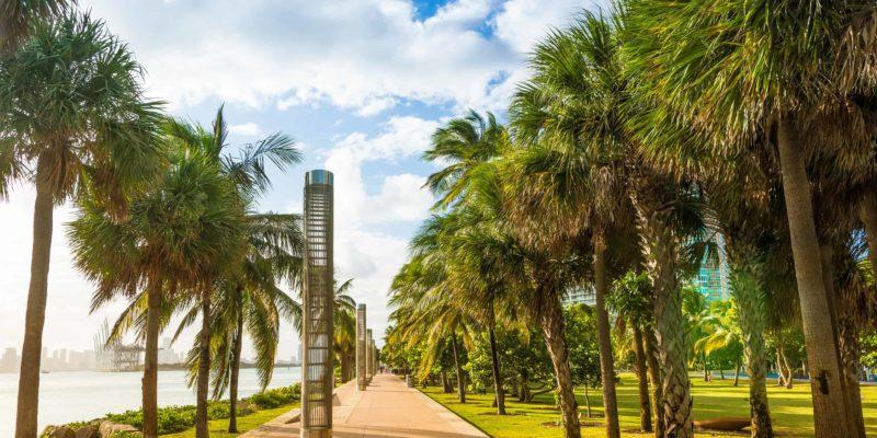 Promenade at South Pointe Park in South Beach, Miami Beach, Florida, USA.
